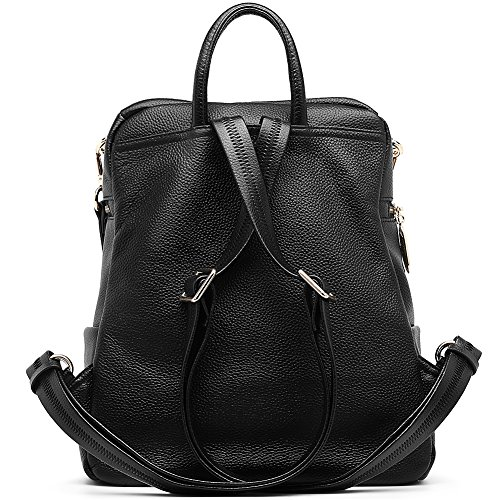 Casual Black for Leather 1 Backpack Girls ANA LUBLIN Fashion Purse School Women Satchel nP5pIn8Swq