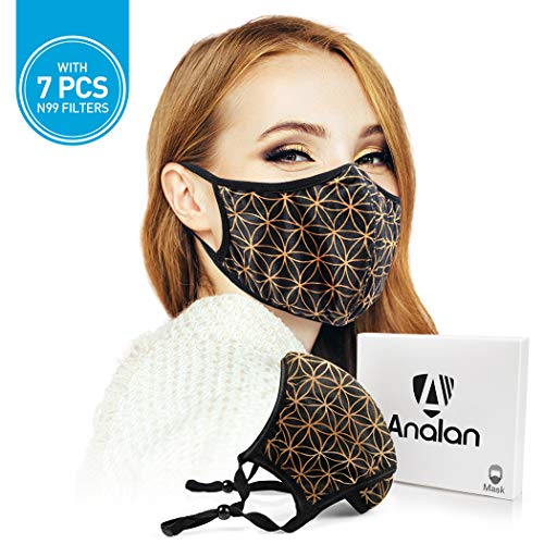 ANALAN Mouth Mask Anti Pollution Dust Mask Washable And Reusable Mask For Flu Pollen Allergies Somke (Gold Life Flower)),