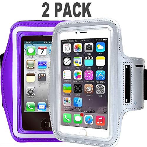 ([2pack]Armband Phone Case For iPhone X 8 7 6 6S Plus, LG G6,Galaxy s9 s8 s7 s6 Edge,[Water Resistant] CaseHQ Sports Exercise Running workout reflective Pouch reflective with Key Holder (silver+purple))