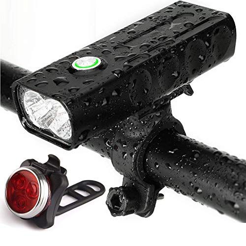 TANSUO Bike Light Rechargeable, Bright Waterproof LED Bicycle Front and Rear Lights,Easy to Install for Cycling Safety Flashlight,Includes Free Rechareable Tail Light