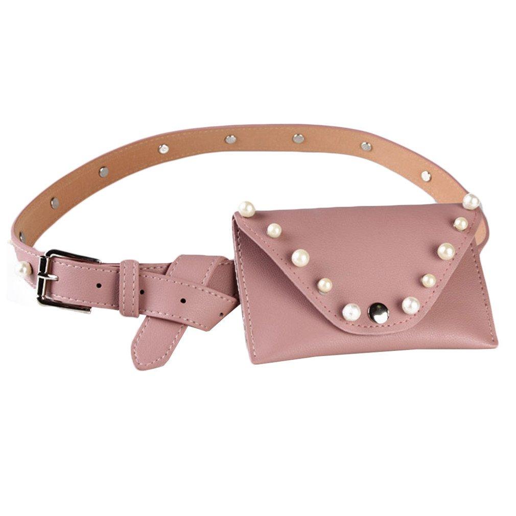 BAGGY Vintage Leather Belt Bag Women Leather Waist Bag Women Casual Pearl Female Belt Phone Women Bag Purse Pink