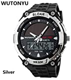 WUTONYU(TM)Solar Watch Fashion Electronic Double Display Waterproof Outdoor Sports Watch (Black)