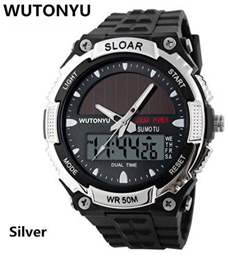 WUTONYU(TM)Solar Watch Fashion Electronic Double Display Waterproof Outdoor Sports Watch (Black) by WUTONYU
