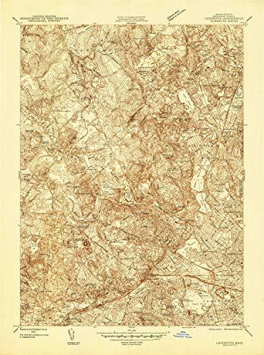 YellowMaps Lexington MA topo map, 1:24000 Scale, 7.5 X 7.5 Minute, Historical, 1944, 26.9 x 20 in - Polypropylene