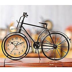 Iron bicycle desktop clock cinnamon and black color mute home decoration vintage table clock horloge frozen reloj 21