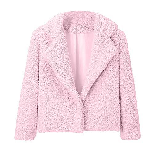Warm Fur Womens Plain Collar Lambswool Pink Coat Teddy Lazzboy Faux Jacket Outerwear Fashion Notch IvYdIq