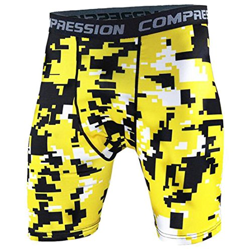 Fulok Men's Compression Camo Short Leggings,Base Layer Tights for Workouts,Running,Sports,Cycling,Training,Weightlifting,All Weather Shorts Yellow Small