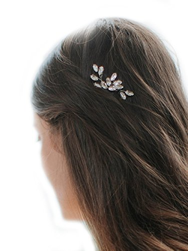 Missgrace 2pcs Bridal Rhinestone Lead Wedding Hair Accessories-Women Hair Accessory for Wedding and Party (Silver)
