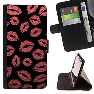 Ihec-Tech / Negro Flip PU Cuero Cover Case para Apple Iphone 4 / 4S - Rouge Noir Sensual Rose