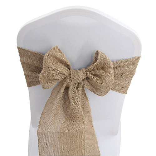 Burlap Hessian Chair Sashes Bows - 100 PCS Natural Banquet Wedding Party Event Decoration Chair Ties (7