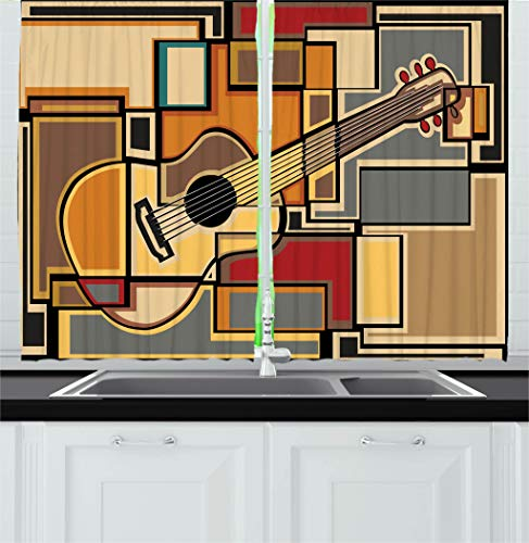 Ambesonne Music Decor Kitchen Curtains, Funky Fractal Geometric Square Shaped Background with Acoustic Guitar Figure Art, Window Drapes 2 Panels Set for Kitchen Cafe, 55 W X 39 L Inches, Multi