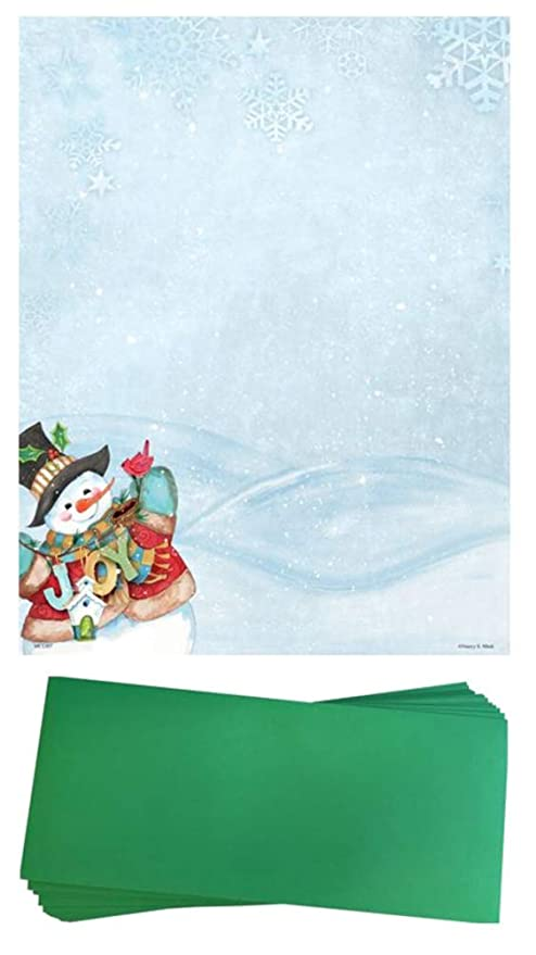 amazon com snowman christmas stationery paper and envelopes 25