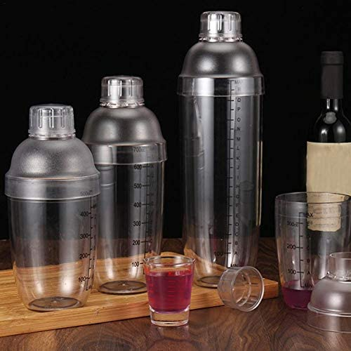 libelyef Boston Shaker, PC-Harz Transparent rutschfeste Oberfläche Mischen Cocktail Hand Shaker Cup, Barkeeper Bar Tools Zubehör Mit Skala, 350 Ml 530 Ml 700 Ml 1000 Ml