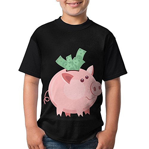 Sleeve Lap Neck Tee (Piggy Bank Young 3D Print Round Polyester Tee Short Sleeved T-Shirt Casual Tops XL)
