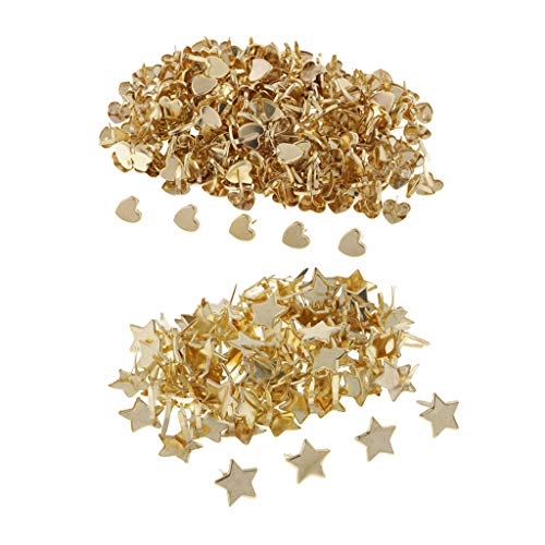 - Prettyia 300 Pieces Star Heart Head Split Pin Metal Brads Paper Fasteners for Scrapbook Paper Craft Card Making Kids DIY Craft Gold
