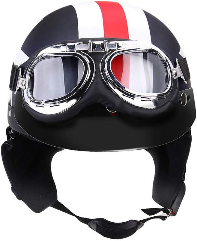iSpchen Casco per Moto Mezza Faccia Aperta con Moda Occhiali Visiera Motocicletta Scooter Turismo Casco Ciclismo Protezione Uomo Donne