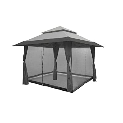 Z-Shade 13 x 13 Foot Instant Gazebo Canopy Outdoor Shelter with Bug Screen, Gray - NF31489: Sports & Outdoors