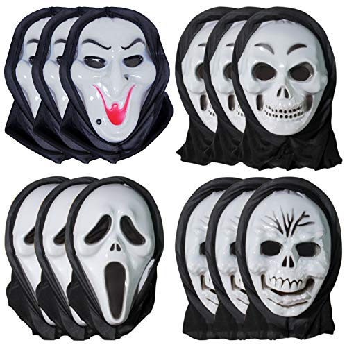 12pcs Halloween Mask Scary Full Face Ghost Witch Devil Vampire Costume Mask for Kids Adults Women Men Holiday Party Decoration Props -