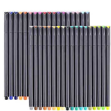 Huhuhero Fineliner Color Pen Set, 0.38 mm Fine Line Drawing Pen, Porous Fine Point Markers Perfect for Coloring Book and Bullet Journal Art Projects, Pack of 18 (Pack of 18)