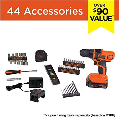 BLACK+DECKER LDX50PK 20V Max Lithium Ion Drill Tool Set with 44Pc Project Kit