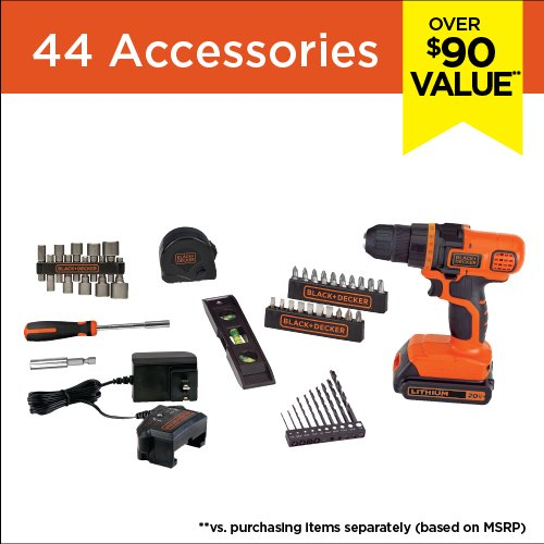 (BLACK+DECKER LDX50PK 20V Max Lithium Ion Drill Tool Set with 44Pc Project Kit)