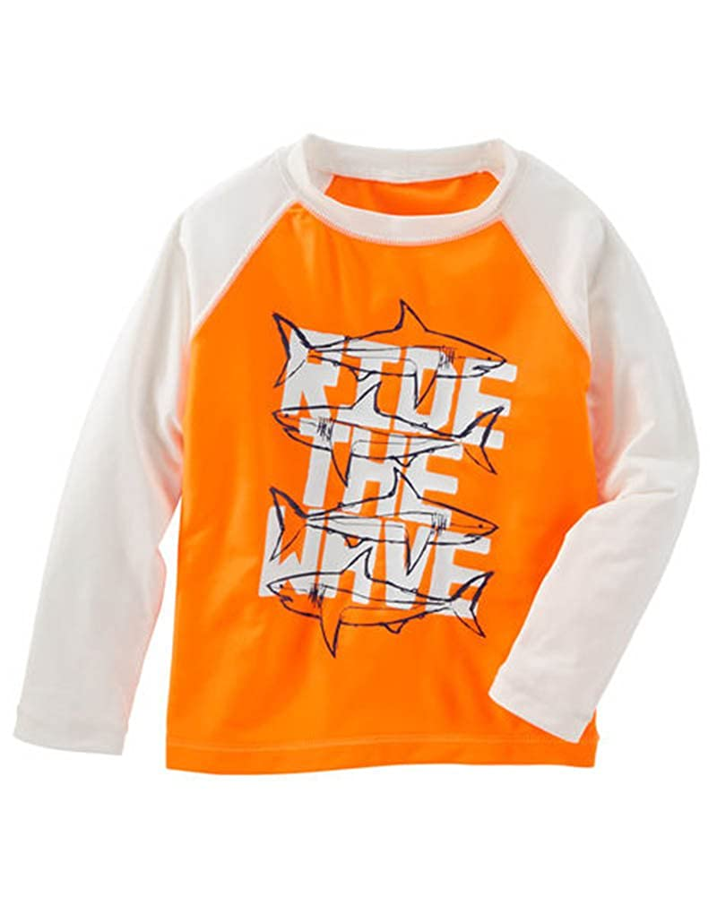 OshKosh BGosh Osh Kosh Bgosh Little Boys Toddler Orange /& White Rashguard Top