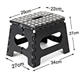 BingCW Foldable Step Stool,for Adults and Kids, 11'',Kitchen,Room, Fishing, Portable Safety Folding Stool,Hold Up On 300lb,Black