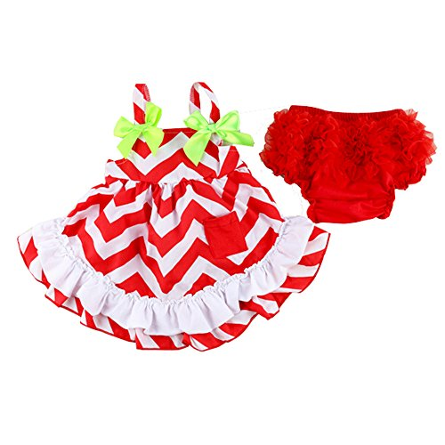 Wennikids Baby Kid 2pc Clothes Set, Infant Ruffle Bloomers+tops Red Chevron (12-18M)