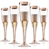 Rose Gold Plastic Champagne Flutes Disposable