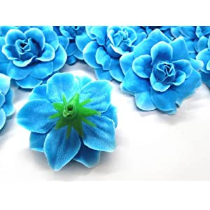"(24) Silk Blue Diamond Roses Flower Head - 1.75"" - Artificial Flowers Heads Fabric Floral Supplies Wholesale Lot for Wedding Flowers Accessories Make Bridal Hair Clips Headbands Dress 2"