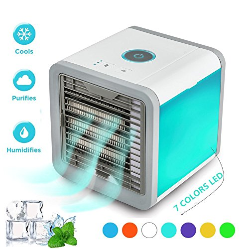 Nifogo Air Cooler Portable - 3 in 1 Mini Personal Space Air Conditioner, Humidifier & Purifier with 7 Colors LED Lights by (White)