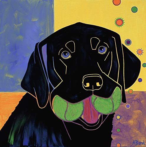 Baller Black Lab Pop Art - Humorous Pet Art by Angela Bond
