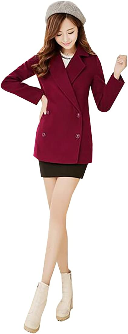 tescous Women Slim Fit Double Breasted Solid Trench Coat Woolen Coats