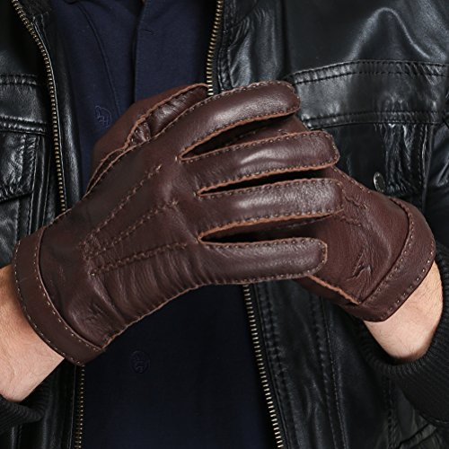 CHULRITA Mens Deerskin Leather Drivers Gloves with Wool Lining, Brown, Large by CHULRITA (Image #4)