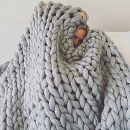 Merino wool blanket, 30×50 inches (80x130CM), Light grey, Giant throw, Chunky, Merino wool blanket, Plaid, Rug.