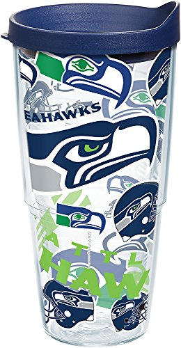 (Tervis 1248197 NFL Seattle Seahawks All Over Tumbler with Wrap and Navy Lid 24oz, Clear)