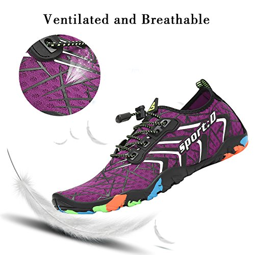 amp;white Aqua Dry for Swim Womens Pool Beach Shoes Surf Barefoot Walking Sports Yoga Water Mens Purple Quick Diving ITvww