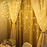 String Lights, 300 LED Window Curtain Twinkle Starry Lights, 8 Lighting Modes, Adapter for Wedding, Party Decorations (Yellow)