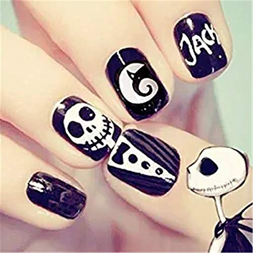 24Pcs/Set Halloween False Nails Black White Skull with Design Fake Nails Full Cover Short Nail Tips Press on Nails with Adhesive for Women and Girls