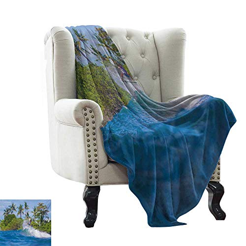 LsWOW Bed Blanket Ride The Wave,Surfer in Ocean by Bali Island Palm Trees Dreamy Nature Scenery,Fern Green Violet Blue Blanket for Sofa Couch TV Bed All Season -