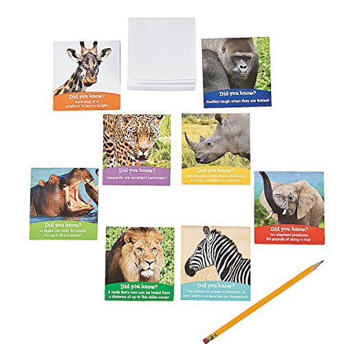 Safari Party Notepad - Fun Express Realistic Safari Animals Notepads | 24 Count | Great for Jungle Zoo Madagascar Themed Birthday Party, School Trips & Activities, Prizes & Favors