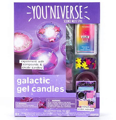 (YouNiverse Galactic Gel Candles by Horizon Group Usa, Stem Science Kit, Make Your Own Starry Gooey Gel Slime Candles, 4 LED Candles Included, Pink, Blue, Purple)