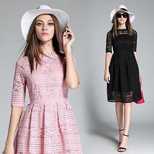 Largos De De Pink Alta Verano Vestidos De Temperamento ZHUDJ Puntilla En Cultivo Vestidos Gama 5gwxCH