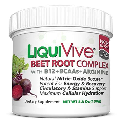LiquiVive Beet Root Juice Powder - Nitric Oxide Booster Supplement | Super Charged with BCAA Amino Acids, Vitamin B12 & L-Arginine | Non-GMO N.O. Amino Energy Drink Mix for Endurance & Circulation