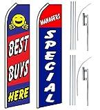 Car Auto Dealer Swooper Flutter Feather Flags & Poles 2 Pack-Best Buy-Mgr Spec.