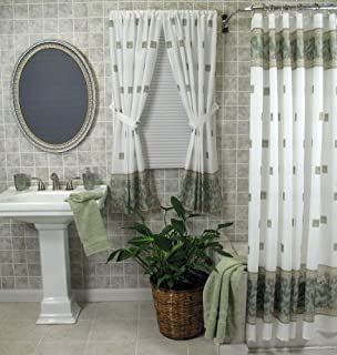 Amazon.com: Ruffled Double Swag Fabric Shower Curtain and Window ...