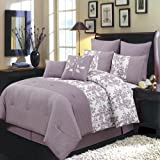 Bliss Purple and White Twin Extra long size Luxury 6 piece comforter set includes Comforter, bed skirt, pillow shams, decorative pillows