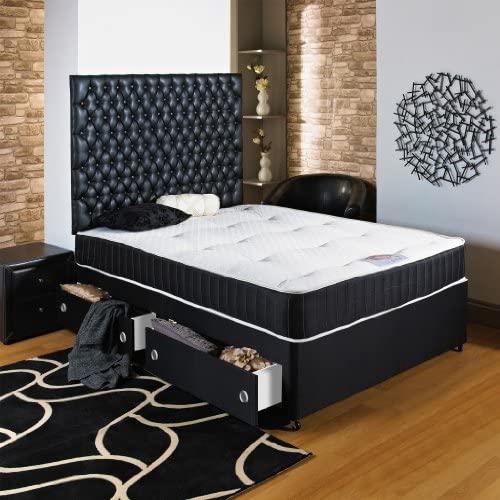 Home Furnishings UK Hf4you Black Chester Ortho Divan Bed - 4ft6 Double - End Drawer - No Headboard