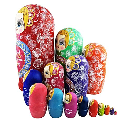 Winterworm Colorful Little Girl Heart Pattern Wooden Handmade Russian Nesting Dolls Matryoshka Dolls Set 15 Pieces for Kids Toy Birthday Home Decoration Collection by Winterworm (Image #1)