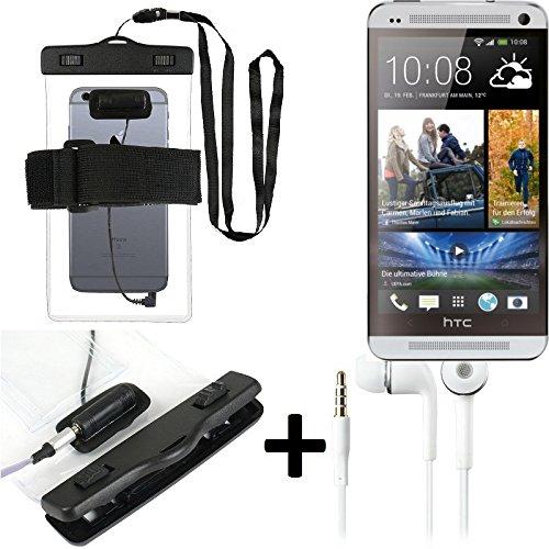Estuche estanco al agua con entrada de auriculares para HTC One + auricular incluido, transparente | Trotar bolsa de playa al aire libre caja brazalete del teléfono caso de cáscara bajo playa - K-S_Tr